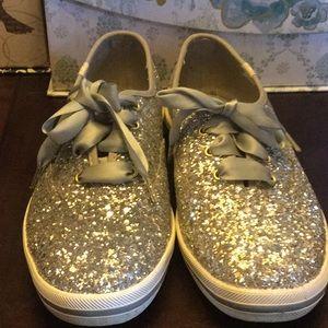 Kate Spade ♠️ silver glitter Keds sz9